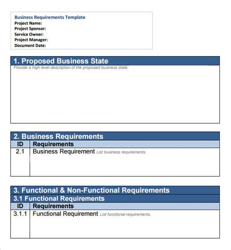 brd business requirements document template sle business requirements document 6 free documents