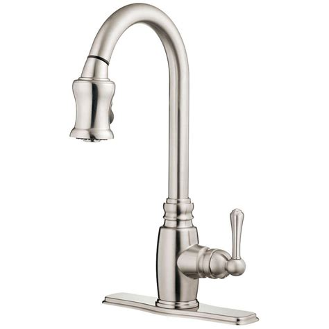 danze pull kitchen faucet danze opulence single handle pull sprayer kitchen faucet in stainless steel d454557ss the