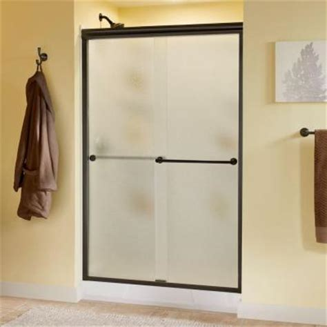 Delta Crestfield 47 3 8 In X 70 In Bypass Sliding Shower Pebbled Glass Shower Door