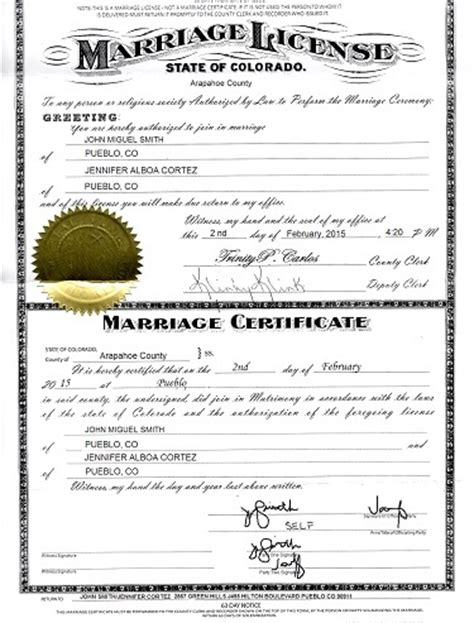 Colorado Marriage Records Search How To Obtain A Marriage Certificate Colorado