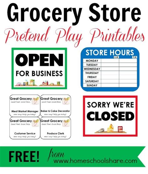 printable grocery store coupons online free grocery store pretend play printables from homeschool