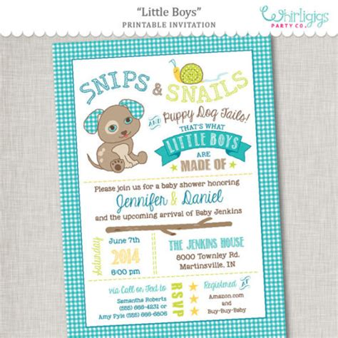 Snips And Snails And Puppy Tails Baby Shower by Snips Snails Puppy Tails Printable Baby Shower
