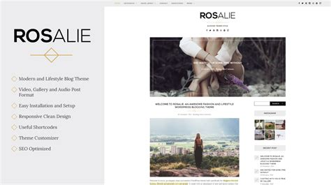 lifestyle blog design rosalie lifestyle wordpress blog theme themes templates