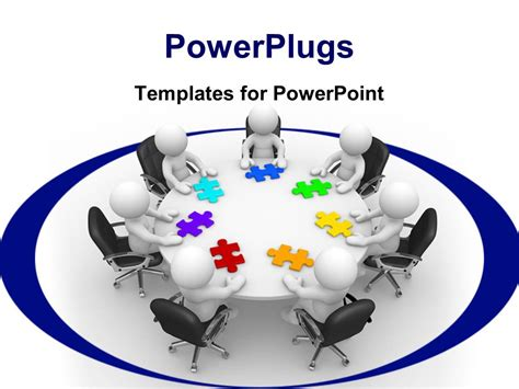 powerpoint template group of white figures sitting around