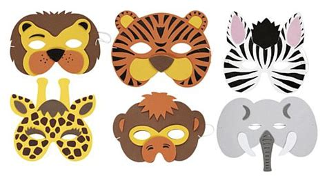 assorted soft jungle animal mask each
