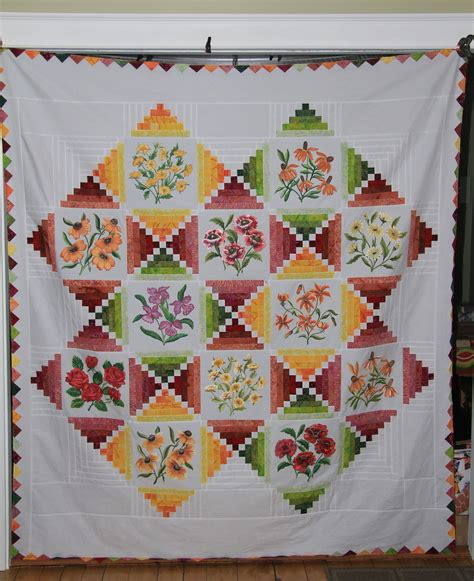 Painted Quilt Squares by Painted Floral Blocks In A Quilt Top