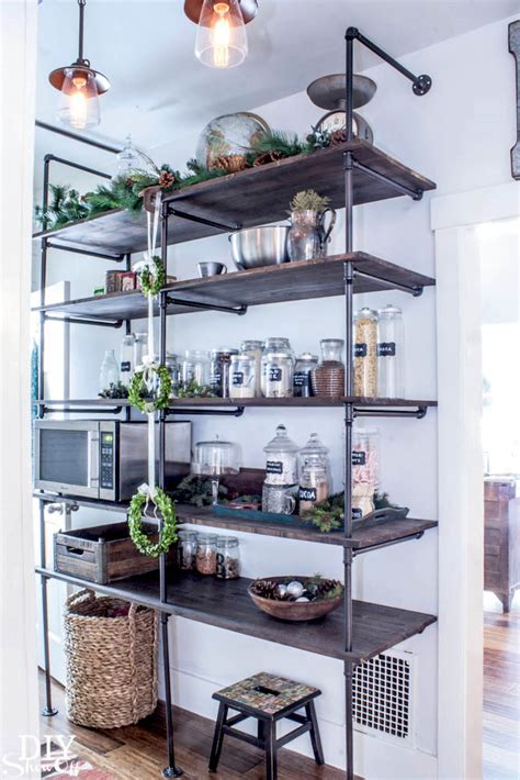 pipe shelves kitchen how to upcycle pipes into industrial diy shelves and lighting homeli