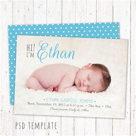 birth announcements card templates 12 best custom birth announcements images on