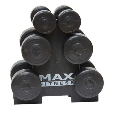 max fitness 12kg dumbbell weights set stand rack home
