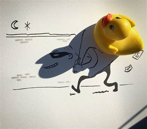 doodle vincent artist turns shadows of everyday objects into