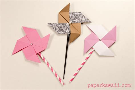 Origami Windmill - traditional origami pinwheel tutorial paper kawaii