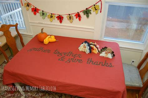 diary of a crafty lady thanksgiving memory tablecloth
