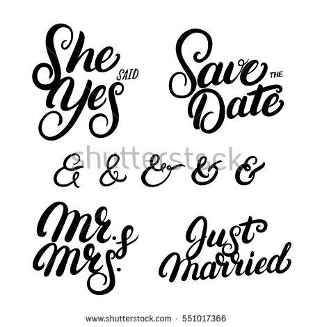 Wedding Album Writing by Set Written Lettering Wedding Quotes Stock Vector