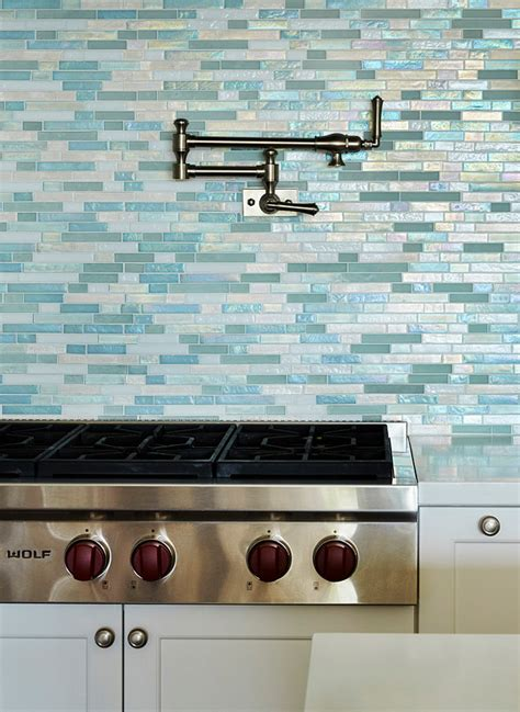 kitchen glass backsplashes beach house kitchen with turquoise decor home bunch