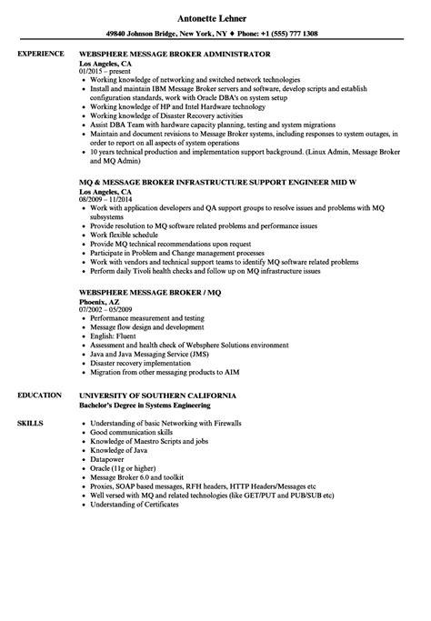 Websphere Message Broker Sle Resume by Message Broker Sle Resume Safety Engineer Sle Resume
