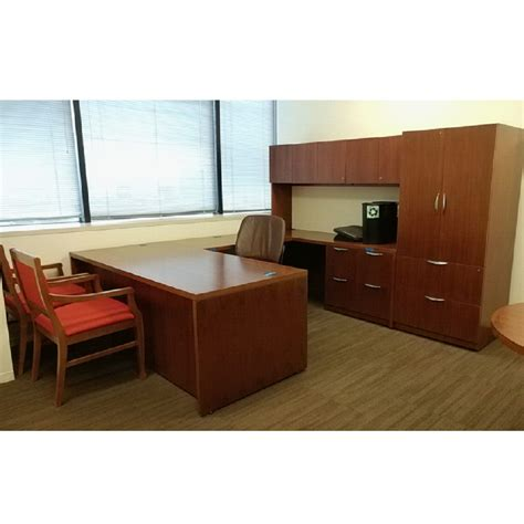 Steelcase Executive Desk Set Right Walnut 01 National Steelcase Reception Desk