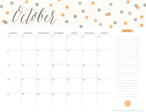 printable calendar cute 2017 cute october 2016 calendar template calendar template 2018