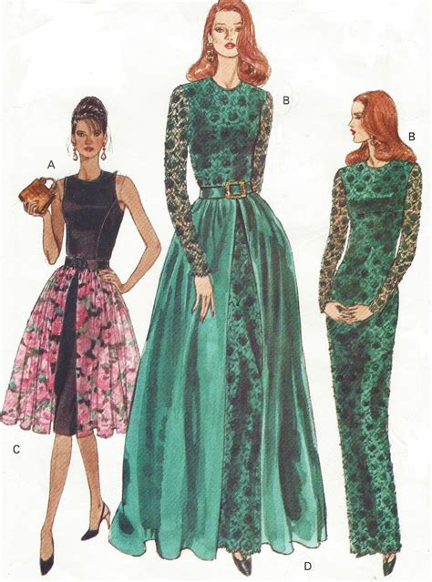sewing pattern evening gown 90s womens evening gown with overskirt vogue sewing pattern