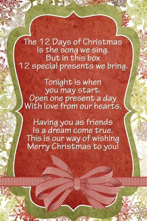 12 days of christmas gifts poems 61 best 12 days of images on merry merry and