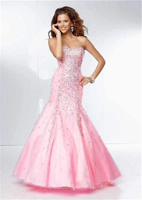 sweetheart beaded prom dress mermaid sweetheart neckline pink tulle beaded prom