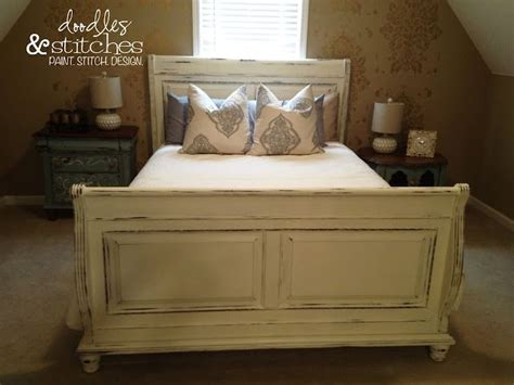 Painted Beds by Distressed Sleigh Bed White For The Home