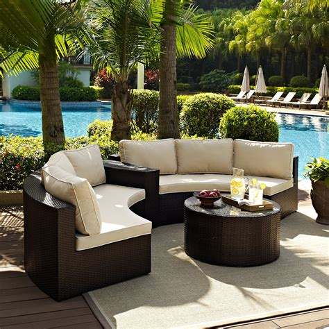 Curved Patio Furniture Set Crosley 4 Outdoor Wicker Curved Conversation Set Conversation Patio Sets At