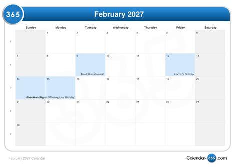 8th feb which day of week february 2027 calendar