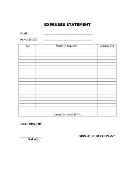 Free Printable Simple Expense Report or Statement Template