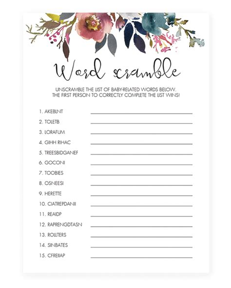 template for baby shower word scramble boho baby shower invitation templates boho shower games