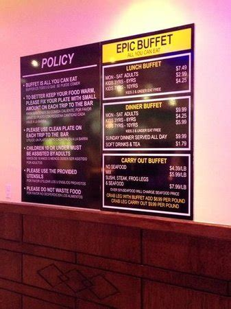 epic buffet menu picture of epic buffet simpsonville tripadvisor