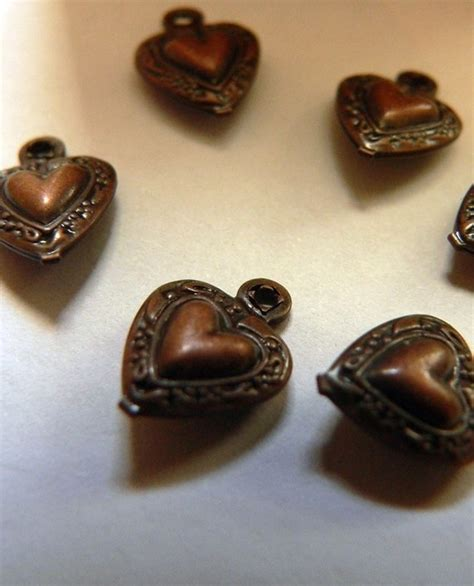 tiny puffy for pinterest 6 tiny copper antiqued puffy hearts by artboxsupplies on