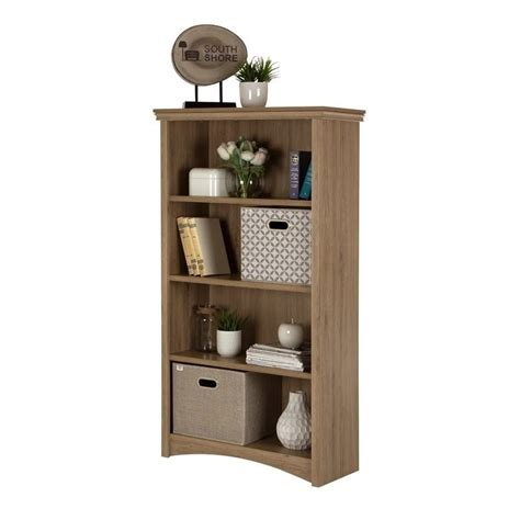 south shore 4 shelf bookcase south shore gascony 4 shelf wood bookcase in rustic oak