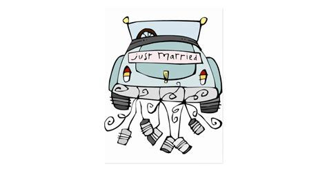 Just Married Auto Basteln Vorlage by Just Married Car Dragging Cans Postcard Zazzle
