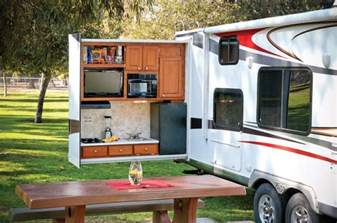 small travel trailer with outdoor kitchen take it outside with an outdoor kitchen www trailerlife