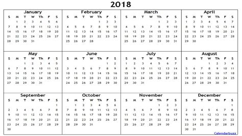 2018 Printable Calendar Word 2018 Yearly Calendar Printable Templates Of Word Excel