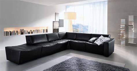 divano pelle nera divano componibile in pelle nera arredamento moderno