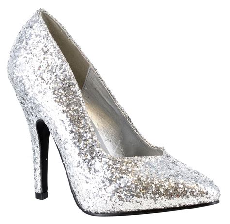 silver high heel shoe silver high heels