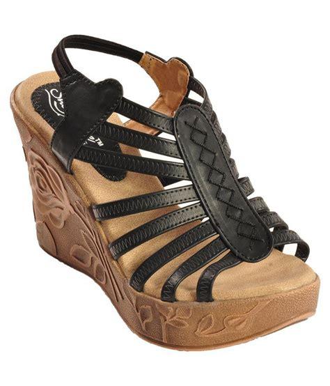 kwality shoes black wedge heels price in india buy