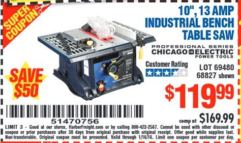 harbor freight table saw coupon harbor freight coupon 10 quot 13 industrial bench table