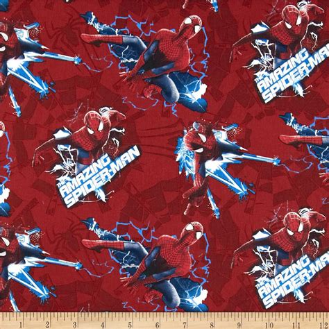 spiderman pattern fabric marvel comics spiderman electric toss red discount