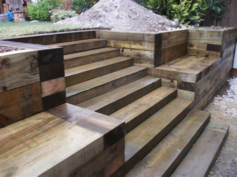 How To Build Steps With Railway Sleepers by Steps Walls Patio With New Railway Sleepers