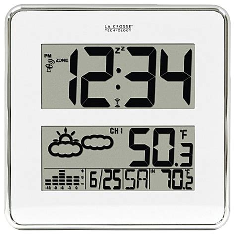 bed clock la crosse 174 11 quot square atomic clock with wireless weather