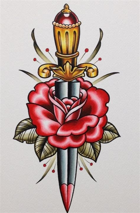 rose old school tattoo 49 school designs