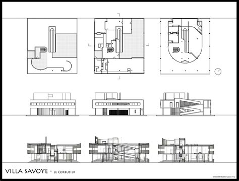 villa savoye floor plan elevations and plans of and sections through the villa savoye poissy 1929 31 le corbusier
