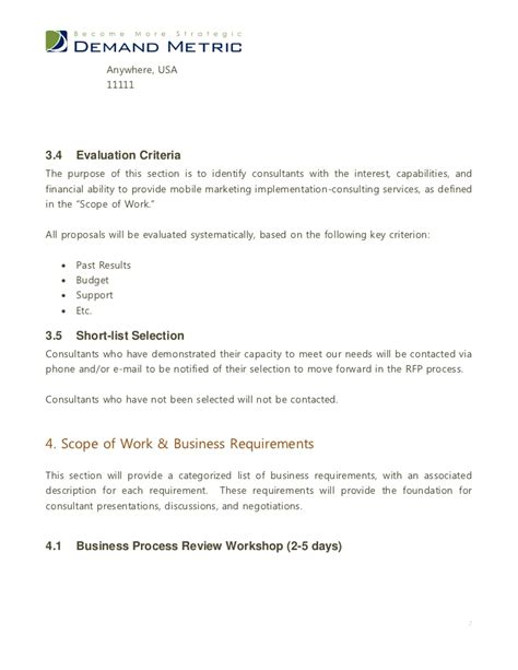 marketing scope of work template mobile marketing rfp template