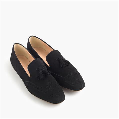black loafers with tassels j crew georgie suede tassel loafers in black lyst