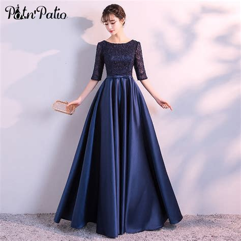 navy blue evening dresses long elegant simple formal dress