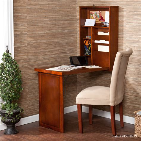 walnut fold out convertible desk wall anywhere home office
