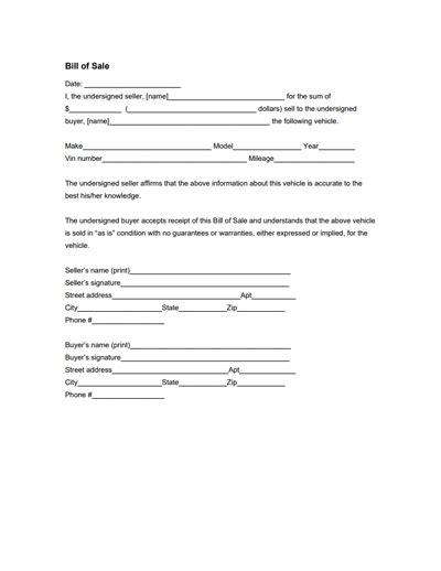 florida boat bill of sale itemized general bill of sale form free download create edit
