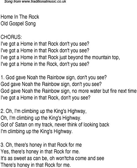 home in the rock christian gospel song lyrics and chords